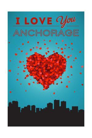 I Love You Anchorage, Alaska-Lantern Press-Framed Art Print