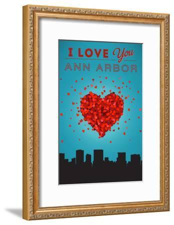 I Love You Ann Arbor, Michigan-Lantern Press-Framed Art Print