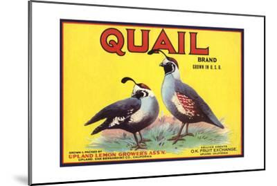 Quail Brand - Upland, California - Citrus Crate Label-Lantern Press-Mounted Art Print