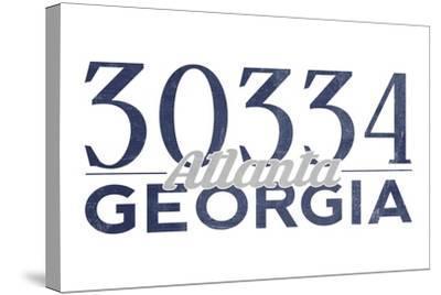 Atlanta, Georgia - 30334 Zip Code (Blue)-Lantern Press-Stretched Canvas Print