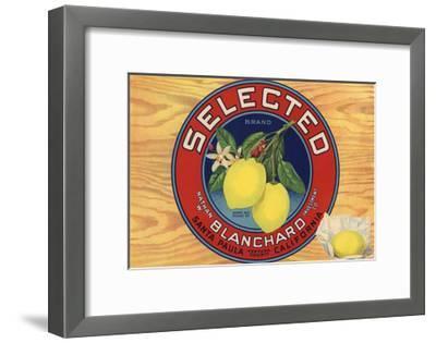 Selected Brand - Santa Paula, California - Citrus Crate Label-Lantern Press-Framed Art Print