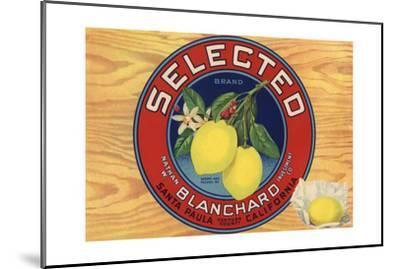 Selected Brand - Santa Paula, California - Citrus Crate Label-Lantern Press-Mounted Art Print