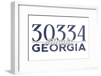 Atlanta, Georgia - 30334 Zip Code (Blue)-Lantern Press-Framed Art Print
