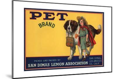 Pet Brand - San Dimas, California - Citrus Crate Label-Lantern Press-Mounted Art Print