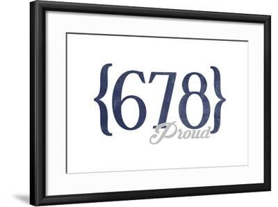 Atlanta, Georgia - 678 Area Code (Blue)-Lantern Press-Framed Art Print