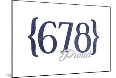 Atlanta, Georgia - 678 Area Code (Blue)-Lantern Press-Mounted Art Print