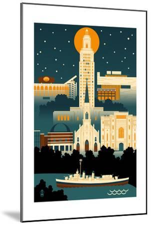 Baton Rouge, Louisiana - Retro Skyline (no text)-Lantern Press-Mounted Art Print