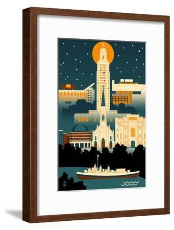 Baton Rouge, Louisiana - Retro Skyline (no text)-Lantern Press-Framed Art Print