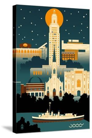 Baton Rouge, Louisiana - Retro Skyline (no text)-Lantern Press-Stretched Canvas Print