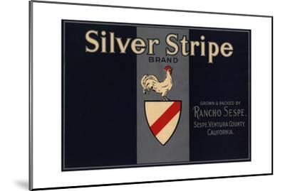 Silver Stripe Brand - Sespe, California - Citrus Crate Label-Lantern Press-Mounted Art Print