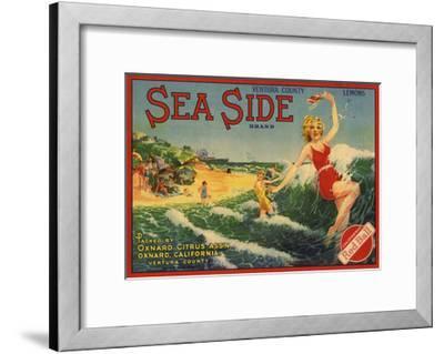 Sea Side Brand - Oxnard, California - Citrus Crate Label-Lantern Press-Framed Art Print