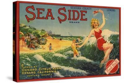 Sea Side Brand - Oxnard, California - Citrus Crate Label-Lantern Press-Stretched Canvas Print