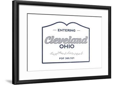 Cleveland, Ohio - Now Entering (Blue)-Lantern Press-Framed Art Print