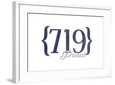 Colorado Springs, Colorado - 719 Area Code (Blue)-Lantern Press-Framed Art Print