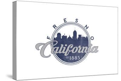Fresno, California - Skyline Seal (Blue)-Lantern Press-Stretched Canvas Print