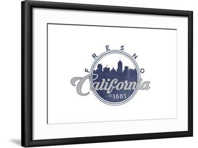 Fresno, California - Skyline Seal (Blue)-Lantern Press-Framed Art Print