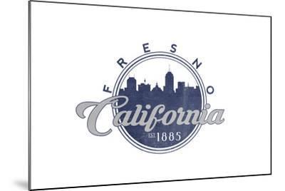 Fresno, California - Skyline Seal (Blue)-Lantern Press-Mounted Art Print