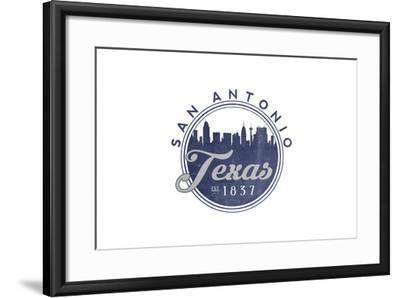 San Antonio, Texas - Skyline Seal (Blue)-Lantern Press-Framed Art Print