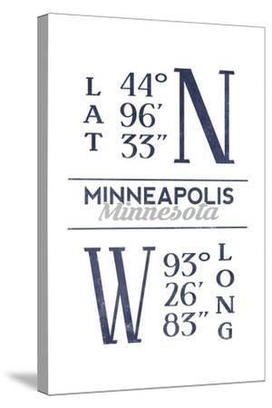 Minneapolis, Minnesota - Latitude and Longitude (Blue)-Lantern Press-Stretched Canvas Print