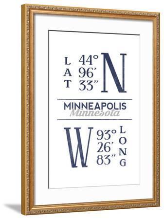 Minneapolis, Minnesota - Latitude and Longitude (Blue)-Lantern Press-Framed Art Print