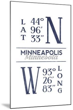 Minneapolis, Minnesota - Latitude and Longitude (Blue)-Lantern Press-Mounted Art Print