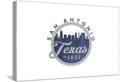 San Antonio, Texas - Skyline Seal (Blue)-Lantern Press-Stretched Canvas Print
