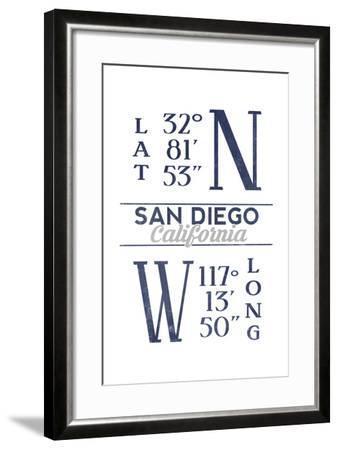 San Diego, California - Latitude and Longitude (Blue)-Lantern Press-Framed Art Print