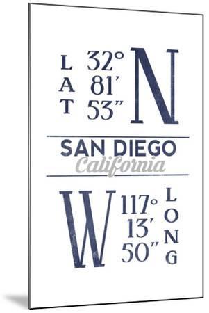 San Diego, California - Latitude and Longitude (Blue)-Lantern Press-Mounted Art Print