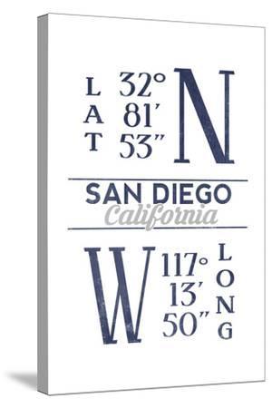 San Diego, California - Latitude and Longitude (Blue)-Lantern Press-Stretched Canvas Print