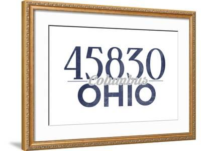Columbus, Ohio - 45830 Zip Code (Blue)-Lantern Press-Framed Art Print