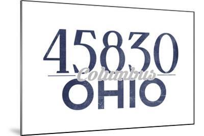 Columbus, Ohio - 45830 Zip Code (Blue)-Lantern Press-Mounted Art Print
