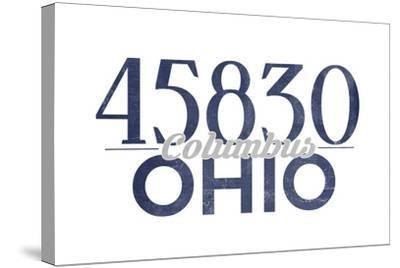 Columbus, Ohio - 45830 Zip Code (Blue)-Lantern Press-Stretched Canvas Print