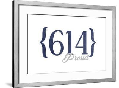 Columbus, Ohio - 614 Area Code (Blue)-Lantern Press-Framed Art Print