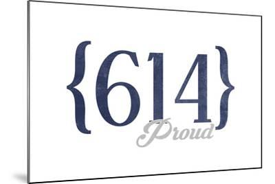 Columbus, Ohio - 614 Area Code (Blue)-Lantern Press-Mounted Art Print