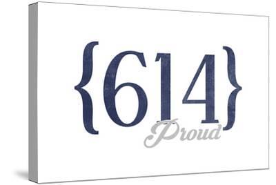 Columbus, Ohio - 614 Area Code (Blue)-Lantern Press-Stretched Canvas Print