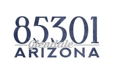 Glendale, Arizona - 85301 Zip Code (Blue)-Lantern Press-Framed Art Print