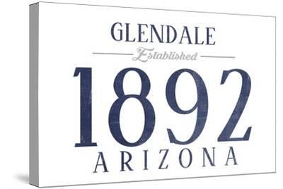 Glendale, Arizona - Established Date (Blue)-Lantern Press-Stretched Canvas Print