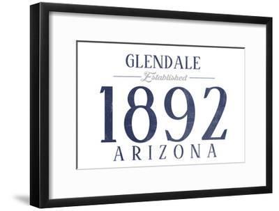 Glendale, Arizona - Established Date (Blue)-Lantern Press-Framed Art Print