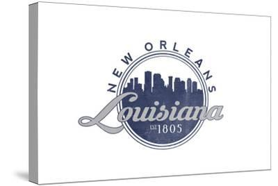 New Orleans, Louisiana - Skyline Seal (Blue)-Lantern Press-Stretched Canvas Print