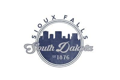 Sioux Falls, South Dakota - Skyline Seal (Blue)-Lantern Press-Framed Art Print
