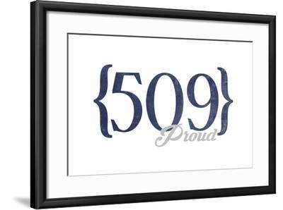 Spokane, Washington - 509 Area Code (Blue)-Lantern Press-Framed Art Print