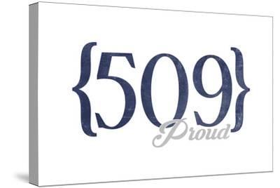 Spokane, Washington - 509 Area Code (Blue)-Lantern Press-Stretched Canvas Print