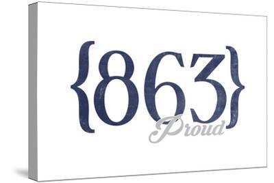 Lakeland, Florida - 863 Area Code (Blue)-Lantern Press-Stretched Canvas Print