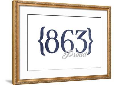 Lakeland, Florida - 863 Area Code (Blue)-Lantern Press-Framed Art Print