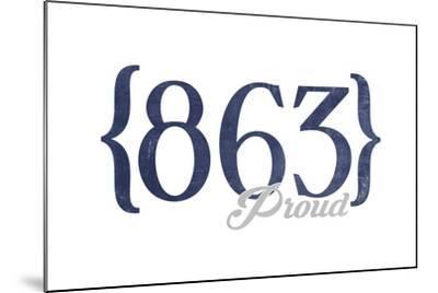Lakeland, Florida - 863 Area Code (Blue)-Lantern Press-Mounted Art Print