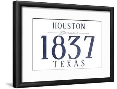 Houston, Texas - Established Date (Blue)-Lantern Press-Framed Art Print
