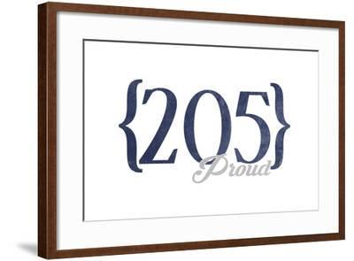 Birmingham, Alabama - 205 Area Code (Blue)-Lantern Press-Framed Art Print