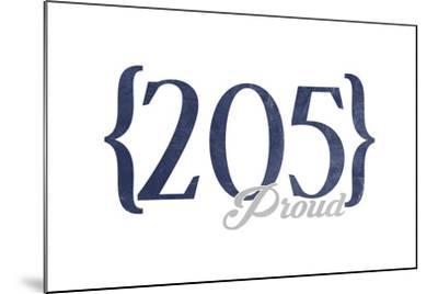 Birmingham, Alabama - 205 Area Code (Blue)-Lantern Press-Mounted Art Print