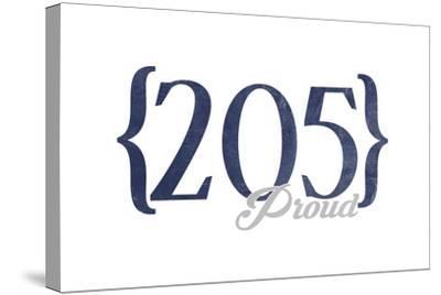 Birmingham, Alabama - 205 Area Code (Blue)-Lantern Press-Stretched Canvas Print