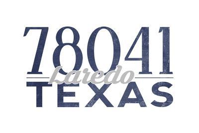 Laredo, Texas - 78041 Zip Code (Blue)-Lantern Press-Framed Art Print